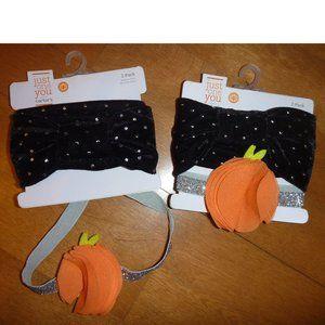 baby HEADBANDS Black Velour Pumpkin Halloween twin